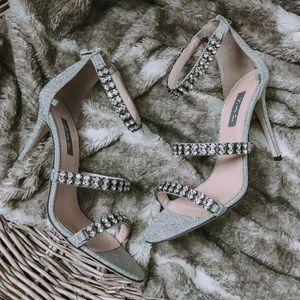 SJP Orbit Frost Glitter Embellished Sandal Heel